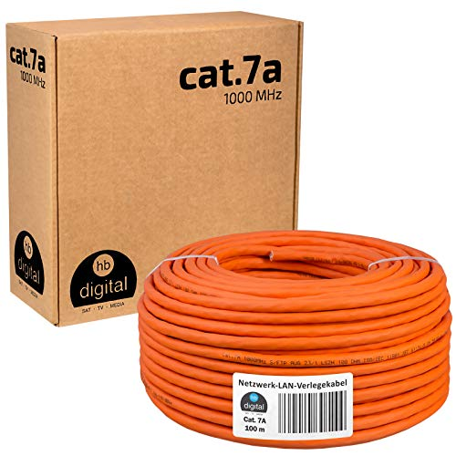 HB-DIGITAL 100m cat.7A cable de red cable LAN AWG 23/1 Naranja Cable cat 7 cobre profesional S/FTP PIMF LSZH libre de halógenos RoHS compliant Cat7a cat.7 a cable de datos Ethernet 10 Gbit 1000 MHz