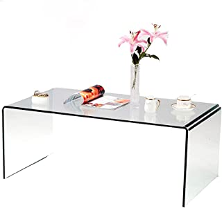 SMARTYK 1/2 Inch Thicken Tempered Glass Coffee Tables, Modern Decor Clear Coffee Table for Living Room, Easy to Clean and Safe Rounded Edges