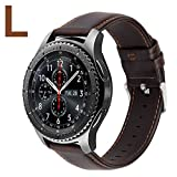MroTech Bracelet Gear s3 Frontier Cuir veritable 22MM Bracelet Montre Remplacement Bande de Poignet compatible pour Samsung Galaxy Watch 46MM / Huawei Watch GT Bracelet Vintage-Café Grand