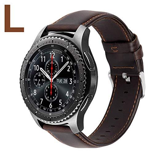 MroTech Lederarmband kompatibel Samsung Gear S3 Frontier/Classic Armband 22mm Echtes Leder Uhrenarmbänder für Amazfit Pace, Huawei Watch 2 Classic/GT, LG und Fossil 22 mm Ersatzband (Kaffee, L)