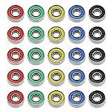 ABEC-9 rodamientos deslizantes 608 2RS acero al carbono 8 x 22 x 7 mm, rojo, amarillo, azul, verde, negro, apto para monopatín, juguetes, patinetes, motores, amoladora angular