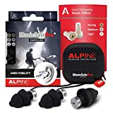 Alpine MusicSafe Pro Music Ear Plugs – Musicians Ear Plugs for Noise Reduction – Concert Earplugs - 3 Noise Reducing Ear Plug Filter Sets - Hypoallergenic Reusable Earplugs, Black