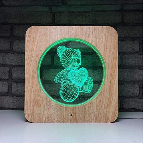 Lampe 3D 7 couleurs Illusion Optique Acrylique Cadre Carré en Bois LED Veilleuse Avec Éteint la Télécommande Et Touchez Swith Table D'éclairage Bureau Câble USB Et À Batterie (Love Heart Bear)