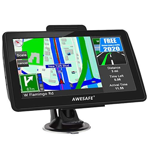 AWESAFE Navigation für Auto LKW Navigationsgerät 7 Zoll Navigationssystem mit 2020 Europa Karte Lebenslang kostenlos Kartenupdate