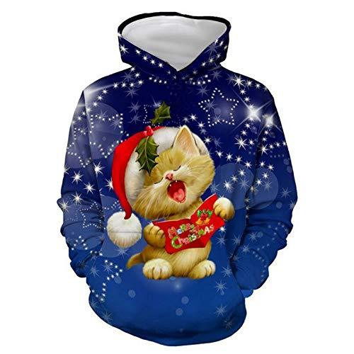 INSTO Pullover Weihnachten 3D Gedruckt Pullover Mode Wilden Hoodie Unisex Trend Freizeit / A1 / M