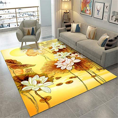 xuyuandass Carpet Modernbeautiful Lotus Leaf 3D Printing Living Room Bedroom Warm Rug 80X150Cm Yoga Mat Household Carpet