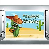 HDJSCTWCLメキシコサボテンお誕生日おめでとう背景砂漠の植物花の写真の背景10x7ftフィエスタ誕生日パーティーの装飾写真ブーススタジオ小道具0481