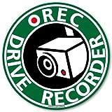 ドライブレコーダー ステッカー ドラレコ 搭載車 車載カメラ 録画 車 後方録画中 防犯 安全運転 セキュリティーステッカー ドライブレコーダーステッカー シール(miteta/グリーン)