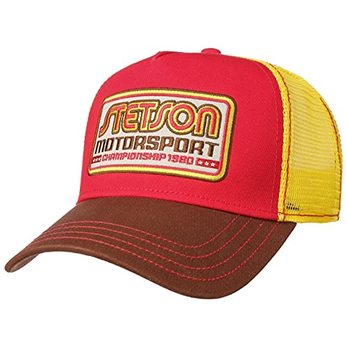 Stetson Motorsport Trucker Cap Truckercap Meshcap Basecap Baseballcap Curved Brim Snapback Damen/Herren - Snapback, mit Schirm, Schirm Frühling-Sommer - One Size gelb