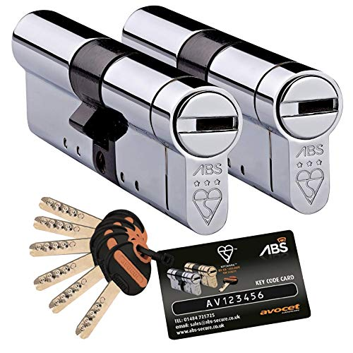 Avocet ABS High Security Euro Cylinder Keyed Alike Pairs - Anti Snap Locks - TS007 3 Star 50mm Int...