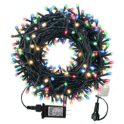 Tcamp 105ft 300 LED Christmas Lights, Outdoor Waterproof Christmas Tree Lights, UL Certified End-to-End Plug 8 Modes Fairy String Lights for Garden Patio Party Wedding Holiday Decor (Multicolor)