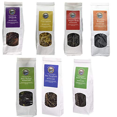 Pack of 7- Selection of Wild Irish Seaweed Hand Harvested Superfood Moss RAW - ATLANTIC WAKAME 40G - CARRAGEEN 40G - DILLISK 40G - KOMBU 40G - SEA SALAD 40G - SEA SPAGHETTY 40G - SUGAR KELP 40G