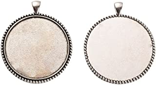 NBEADS 87pcs/kg Tibetan Style Alloy Flat Round Pendant Cabochon Bezel Settings for Crafting, Jewelry Making Accessaries, Antique Silver, Tray: 40mm; 54x45x3mm, Hole: 5x7mm