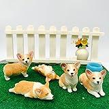 5-Pack Pembroke Welsh Corgi Sculpture Figurine Toy, Hand-Made and Painted Pet Portrait Dog Statue Ornament Memorial Decoration, Corgi Collectibles, Pembroke Welsh Corgi Art (Corgi 5-Pack)