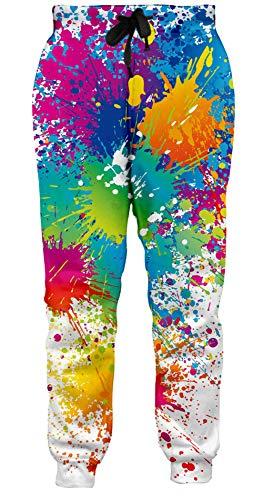 Loveternal Jogginghose Herren 3D Print Hosen Farbe Design Lustige Jogger Sport Pants Casual Baggy Paint Sweatpants für Frauen Männer M
