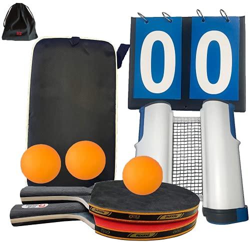 GzCommodities Ping Pong Set con Red portátil, 2 Raquetas de Tenis de Mesa, 3 Pelotas, 1 Marcador, 1 mochila para el Transporte