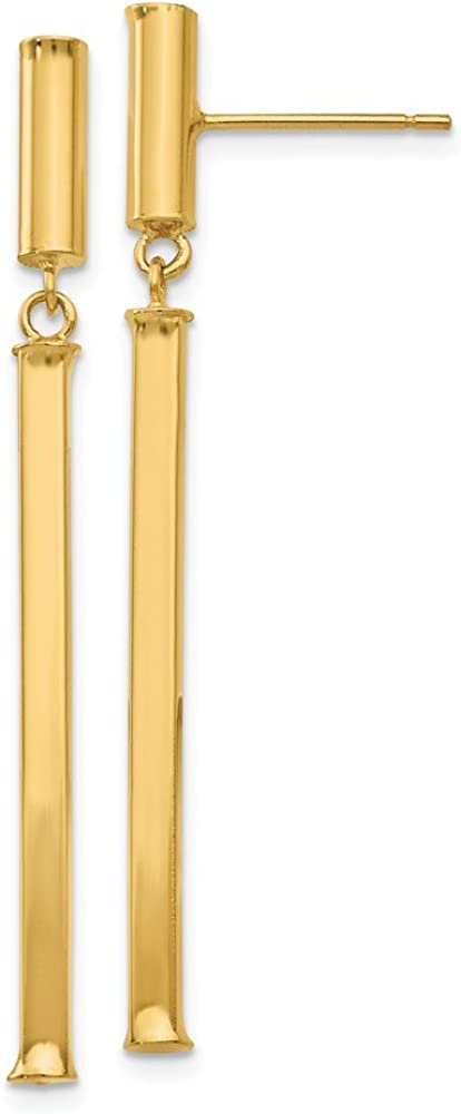 14k Yellow Gold Squared Post Stud Drop Dangle Chandelier Earrings Fine Jewelry For Women Gifts For Her