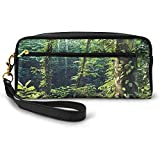 Morgen Sonnenstrahl durch Wilden Wald Efeu auf Bäumen Ruhe in der Natur Eco kleine Kosmetiktasche...