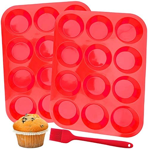 12 Cups Silicone Muffin Pan Set of 2 Muffin Tins for Baking Cakes Egg Muffin Fat Bomb 100 Food product image