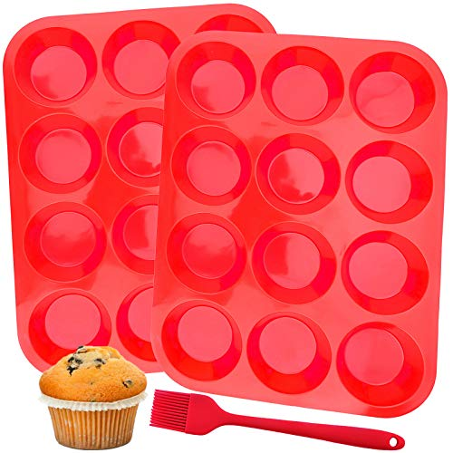12 Cups Silicone Muffin Pan Set of 2 Muffin Tins for Baking Cakes Egg Muffin Fat Bomb 100% Food Grade Nonstick Cupcake Pan