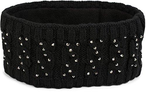 styleBREAKER Ladies Browband met vlechtpatroon en strass, zachte fleece voering, haarband, hoofdband 04026001