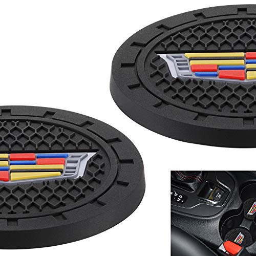 """AOOOOP Car Interior Accessories for Cadillac Cup Holder Insert Coaster - Silicone Anti Slip Cup Mat for Cadillac XT4 XT5 XT6 Escalade CT5 CTS XTS CT6 ATS (Set of 2, 2.75"""" Diameter)"""