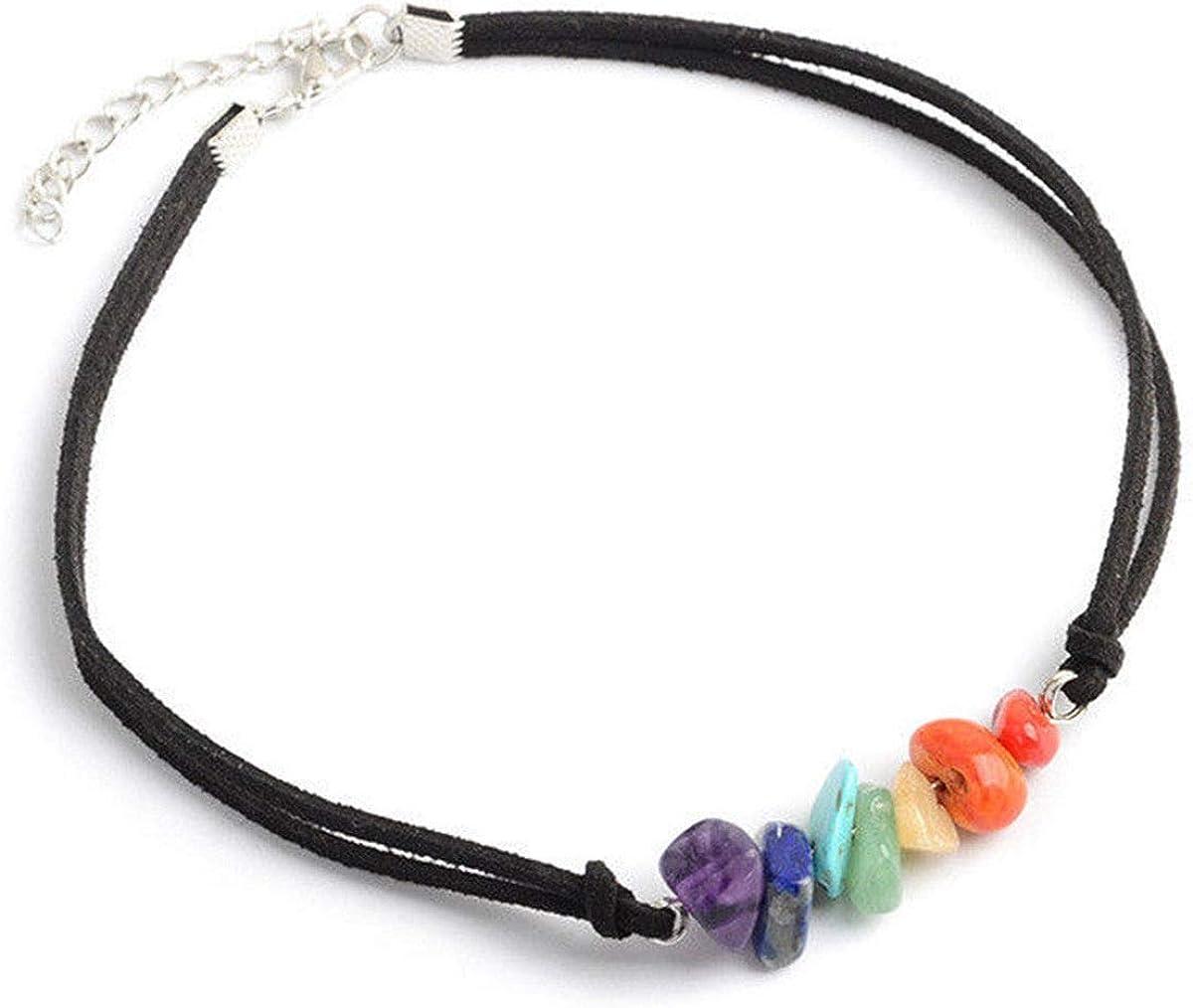 Today's Loot 7 Stone Chakra Black Choker Necklace