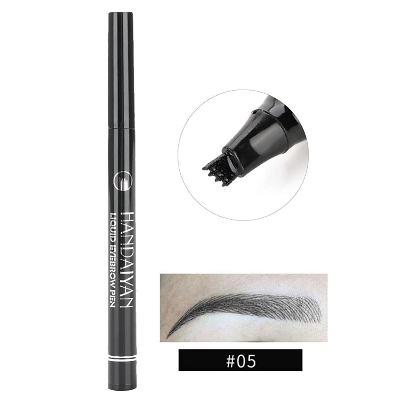 方法有名人リス防水眉ペン、液体 長持ち 液体眉毛タトゥーペン 眉毛エンハンサー メイクアップペン(5)