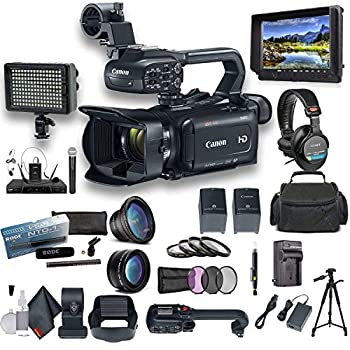 Canon XA11 Compact Full HD Camcorder with HDMI and Composite Output Filmmaker Bundle Includes Extra Battery Case LED Light External Monitor Professional Mic Sony Headphones Tripod and More