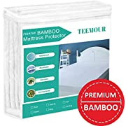 "Queen Size Premium Bamboo Mattress Protector Cooling Mattress Protector Hypoallergenic Waterproof Mattress Protector Pad Mattress Cover Cotton Terry Surface Noiseless -Fitted 8""-21"" Deep Pocket"