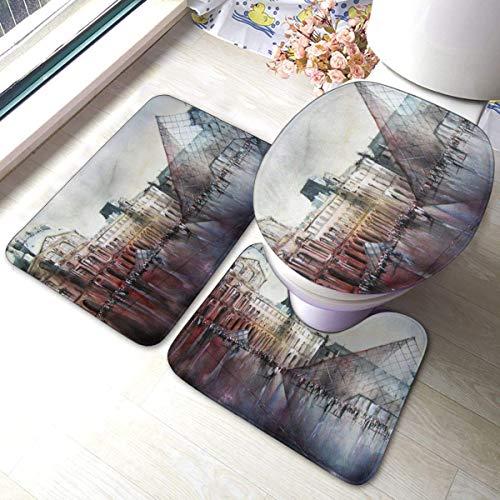 RedBeans Le Louvre Paris - Juego de alfombrillas de baño antideslizantes de franela de 3 piezas, incluye alfombrilla de baño suave y funda para asiento de inodoro