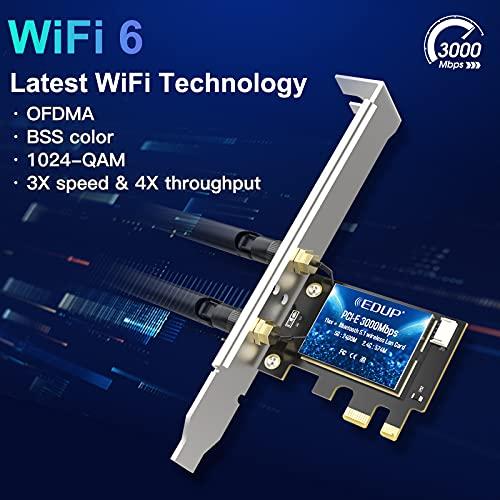EDUP PCIe WiFi 6 Card Bluetooth 5.1 AX 3000 Mbps AX200 Dual Band 5.GHz/2.4GHz PCI-E Wireless WiFi Network Adapter Card for Desktop Windows 10 64-bit
