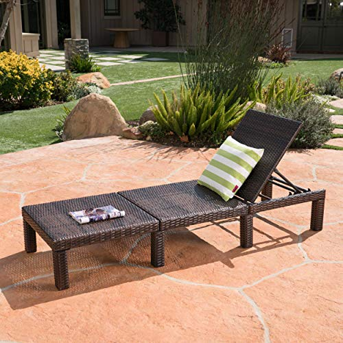 Christopher Knight Home Jamaica Outdoor Wicker Chaise Lounge without Cushion, Multibrown