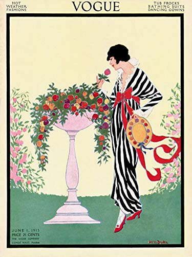 """Vogue Cover Fashion Lady Rose Flower Hot Weather Designs 1913 12"""" X 16"""" Image Size Vintage Poster Repro SHIPPED ROLLED"""