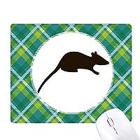 ブラックマウス動物の描写 緑の格子のピクセルゴムのマウスパッド