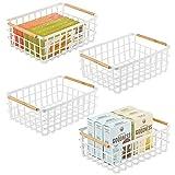 mDesign Juego de 4 cajas multiusos grande de metal – Caja organizadora...