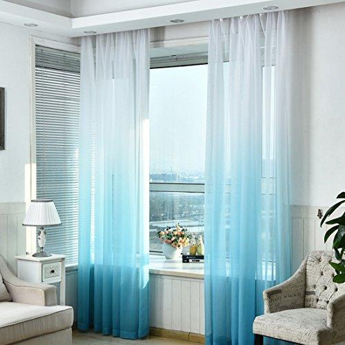 Hoomall Décoration de Fenêtres Rideau à Oeillets Occultant Rideau Chambre Couleur Blanc Bleu Dégradé Polyester 140x245cm 1 PC