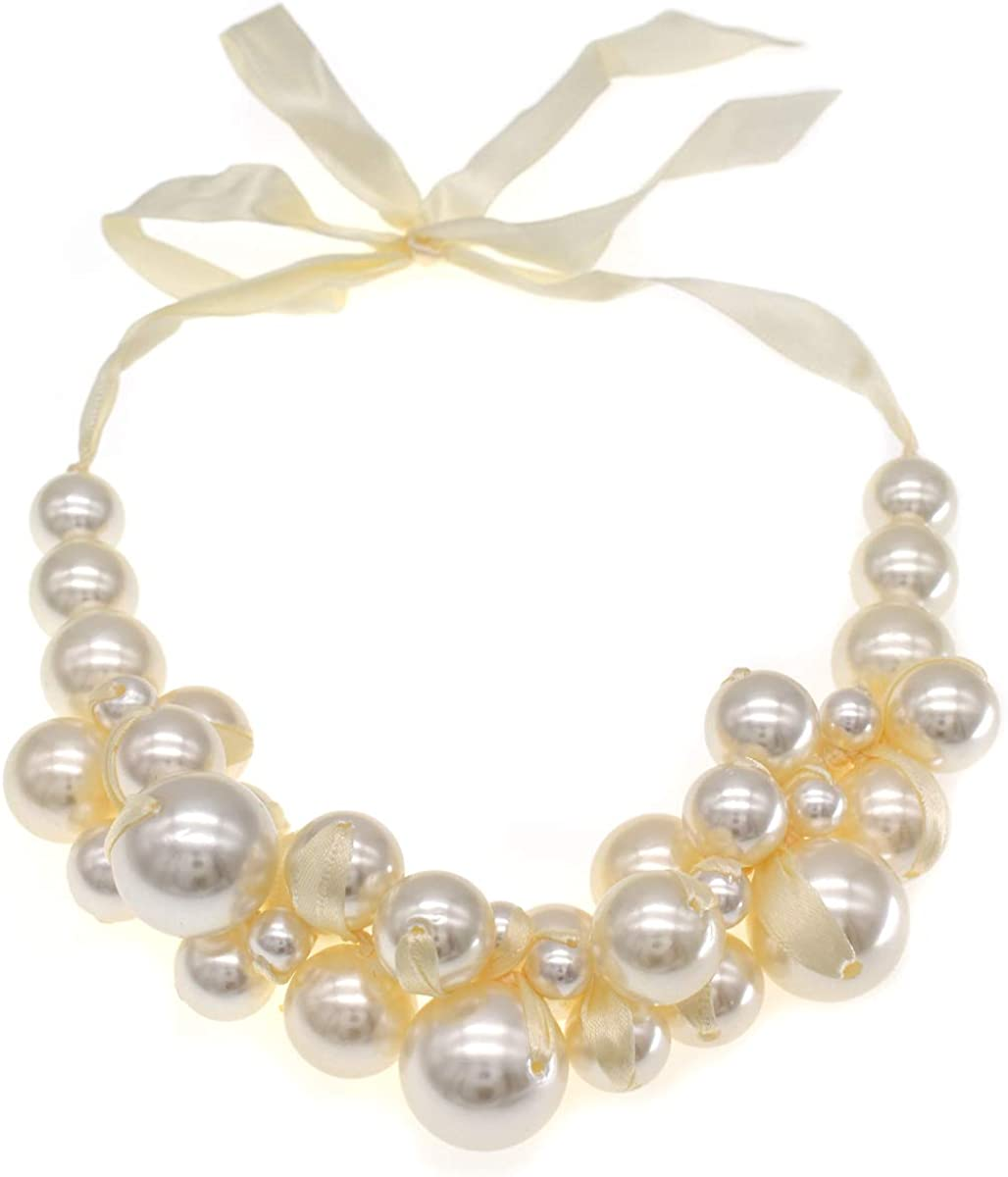 Hand made Pearl Statement Necklace for Women Big Pearls and Rhinestone Crystal Necklaces Chunky Pearl Necklace Large Pearl Necklace and Earrings Set for Party Wedding