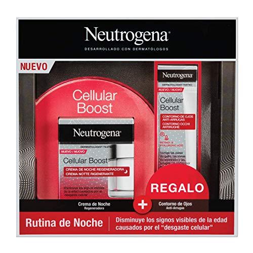 Neutrogena Cellular Boost Anti-edad, Pack Crema de Noche Regeneradora + Contorno de Ojos Anti-arrugas Rejuvenecedor