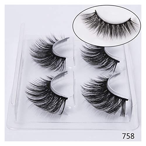 QH 12 Pairs Natural False Eyelashes Mink Eyelashes 3D Theatrical Makeup False Eyelashes Eyelash Yarn (Color : 758)