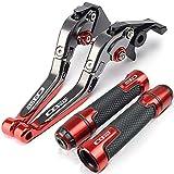 Parte de Moto Palanca De Freno Empuñadura De Embrague Juego Empuñaduras Plegables Ajustables para H-Onda CB600F CB 600F Hornet 2007-2010 2011 2012 2013 (Color : Red Set)