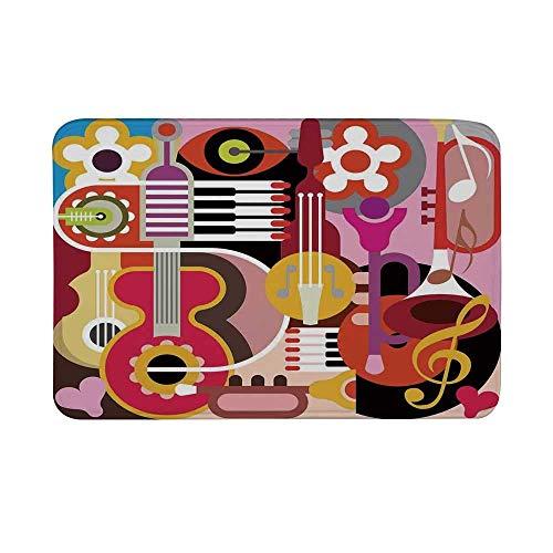 YnimioHOB Alfombrilla Antideslizante para decoración Musical, gráfico Complejo con Varias propiedades Musicales Iconos Teclado Festival Piano Fiesta Diseño de Arte Alfombrilla para baño Sala de Estar