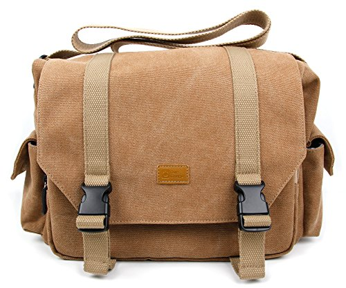DURAGADGET Large Tan-Brown Canvas Carry Bag -...
