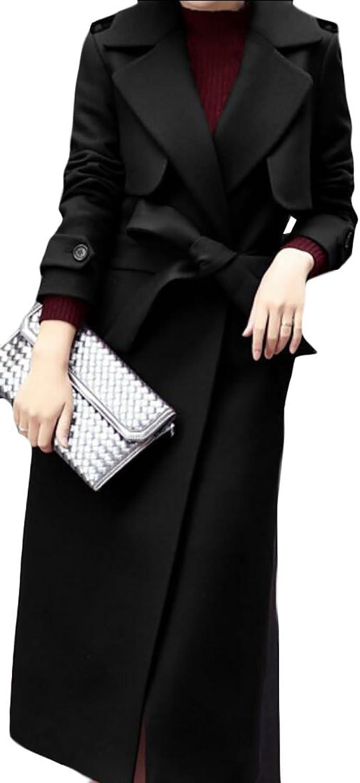 Sull Women's Long Sleeve Winter Lapel Woolen Coat Jacket Overcoat