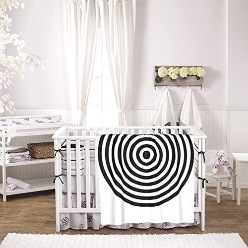 Black and White Unisex Plush Blanket Infant Newborn Receiving Blanket for Crib Stroller Travel Decorative One Size Black