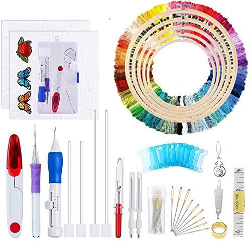Ricamo Punto Croce Kit Set Completo - 5Pcs Telaio Ricamo Circolare di bambù, 100 Colori Fili, Ago Magico Utensile per Punzonatura Aghi Punch Needle, 14 Conte Tela Aida