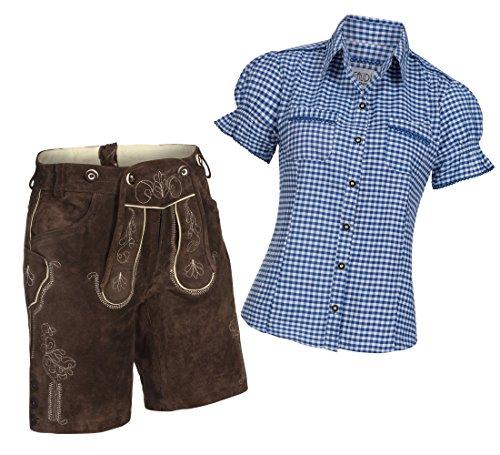 Damen Set Trachten Lederhose Shorts dunkelbraun kurz + Träger + Trachtenbluse Mala 38 Blau Weiß Kariert 36