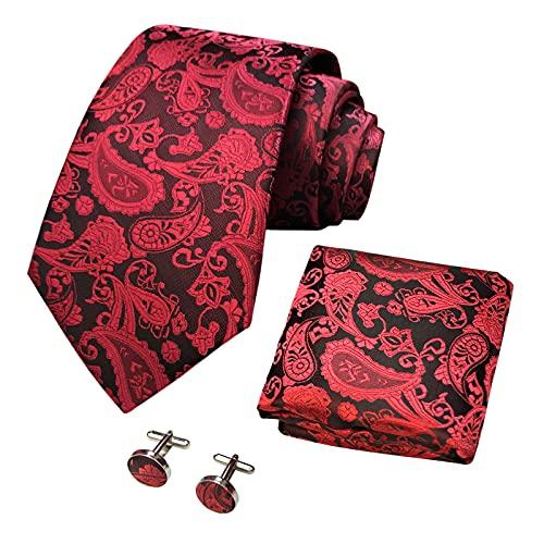 CANGRON Set di cravatte con gemelli da taschino da uomo in tessuto rosso con motivo cachemire da uomo DLSPXDH