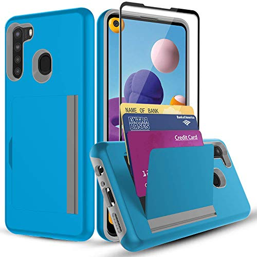 SunRemex Galaxy A21 Case with Tempered Glass Screen Protector,A21 Card Holder Case,PC+TPU Dual Layer Hybrid Shock Proof Credit Card Protective Wallets Case for Samsung Galaxy A21 Phone (sea Blue)