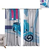 Country Wear-Resistant Color Curtain Mini Scooter in Soft Mediterranean Mid Day Italian Town Life Symbol Art Paint Print Waterproof Fabric W52 x L108 Inch Blue Grey